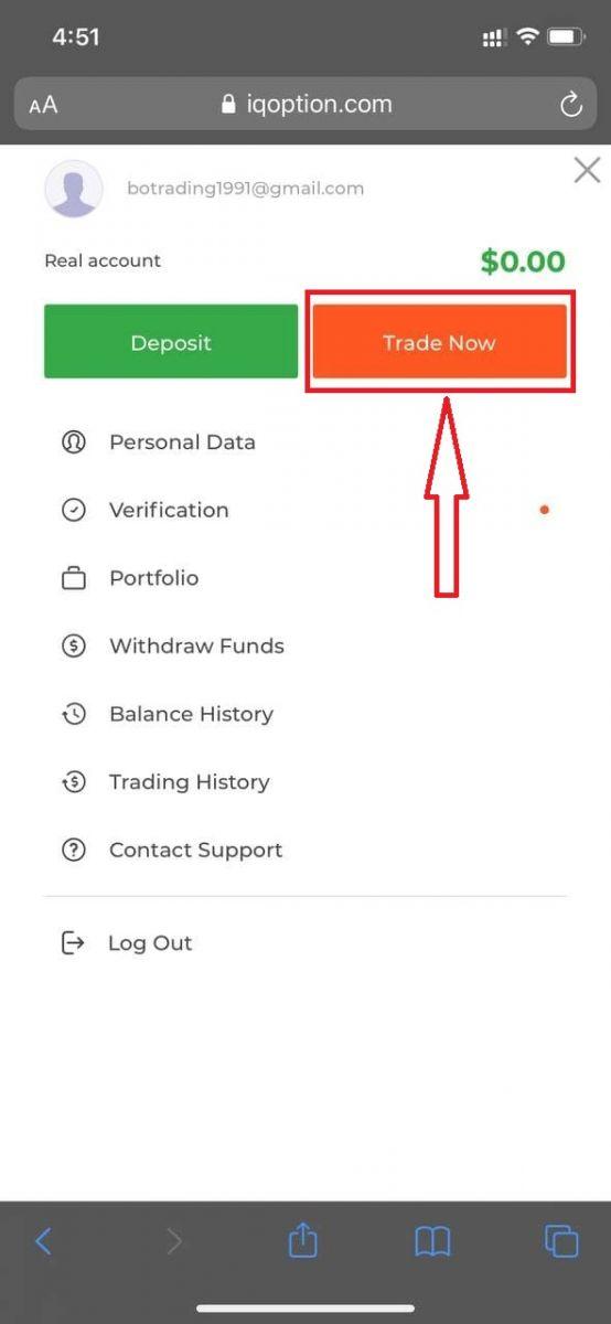 Cách đăng nhập và xác minh tài khoản trong IQ Option