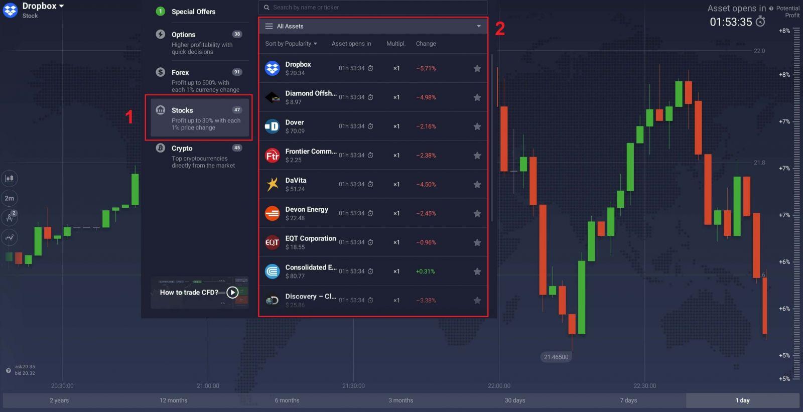 Cách gửi tiền và giao dịch các công cụ CFD (Forex, tiền điện tử, cổ phiếu) tại IQ Option